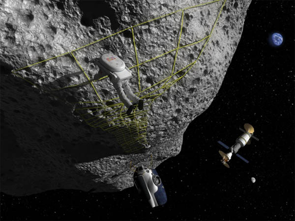 Rendering of an astronaut holding onto netting on an asteroid. There is a satellite in the distance.