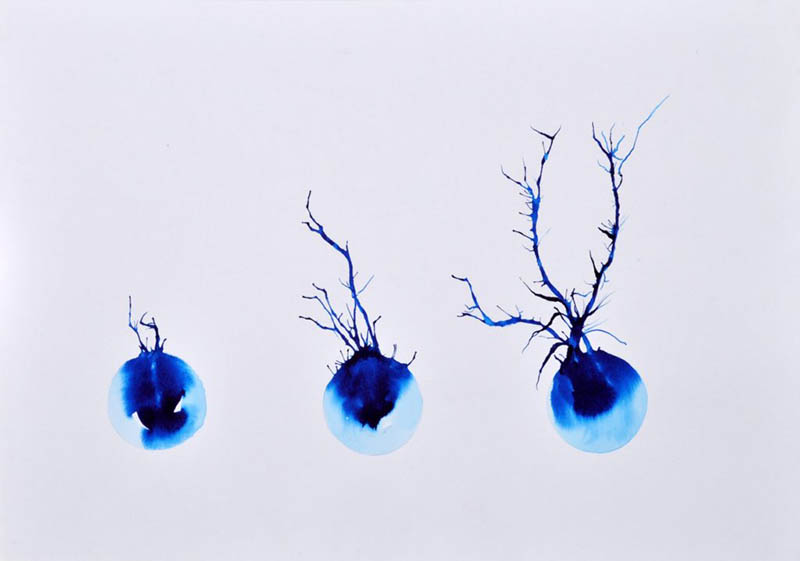 Artwork. White background. Blue droplets with branch like protrusions.