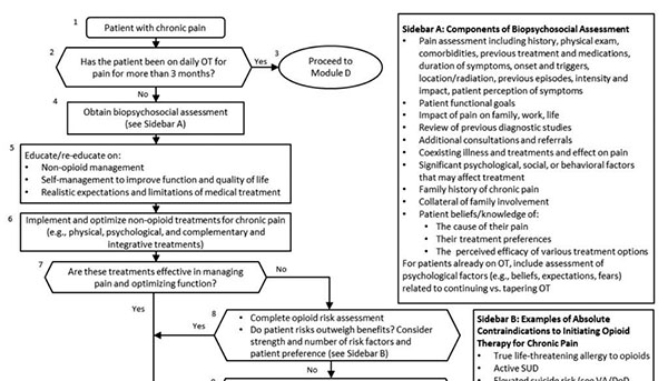 Flowchart. (1) Patient with chronic pain. (2) Has the patient been on OT for pain for more than 3 months? Yes leads to (3) Proceed to Module D. No leads to (4) Obtain biopsychosocial assessment (see Sidebar A). (5) Educate/re-educate on: -Non-Opioid management -Self-management to improve function and quality of life -Realistic expectations and limitations of medical treatment. (6) Implement and optimize non-opioid treatments for chronic pain (e.g., physical, psychological and complementary and integrative treatments). (7) Are these treatments effective in managing pain and optimizing function? The remainder of the chart is cut off.