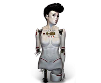 Rendering of a robotic body without legs and the lower half of her right arm and Janelle Monaé's head.