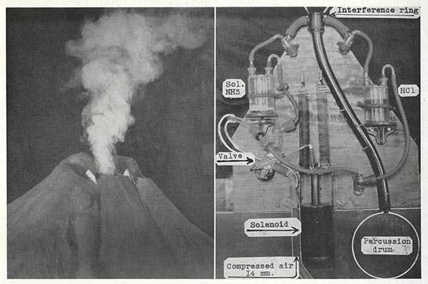 A black and white side by side of two images. On the left is a volcano spewing smoke, and on the right is a map of the interior of the same volcano.