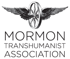 A black and white sketch of a wagon wheel with wings coming out of either side appears in a black and white logo of the Mormon Transhumanist Association