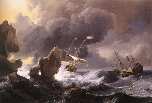 An oil painting of a Dutch colonial ship being tossed around by rough seas under a stormy sky.
