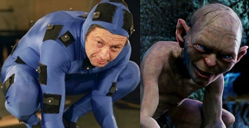 Andy Serkis in a motion capture suit alongside the CG character Gollum.