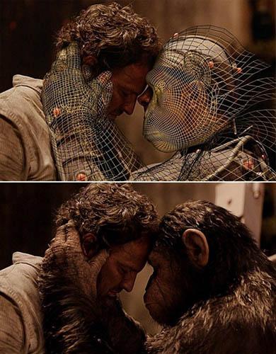 Human actor and human/digital character embrace.