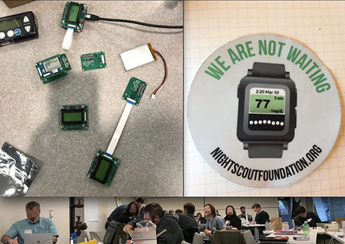Top images: Edison Intel board with prototype screen attached; photo of Nightscout Foundation sticker; Bottom image: November 2017 Nightscout Hackathon