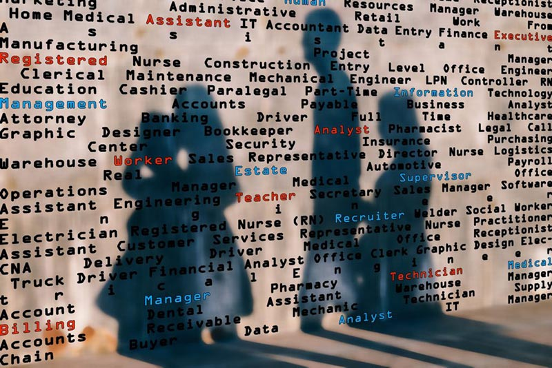 Rendering of a wall with job titles listed all over it. There are shadows cast on it from people walking past.