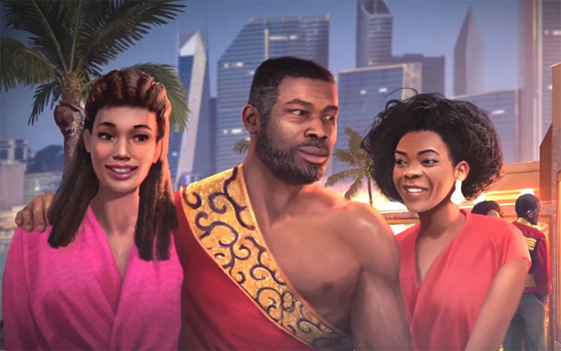 The Black Mortal Kombat character Jax is shown wearing a red and yellow garment that leaves one of his pecs exposed. He is flanked on either side by women. On his right, a white woman in a fuschia top, and on his right, a Black woman in an organe top. There is a skyline and a palm tree in the background.
