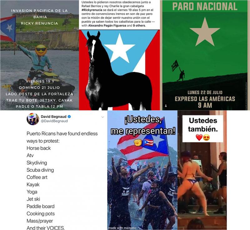 Afiches y tweets demostrando la variedad de protestas, desde una invasión de la bahía, protesta a caballo, a paro nacional y reggaeton.