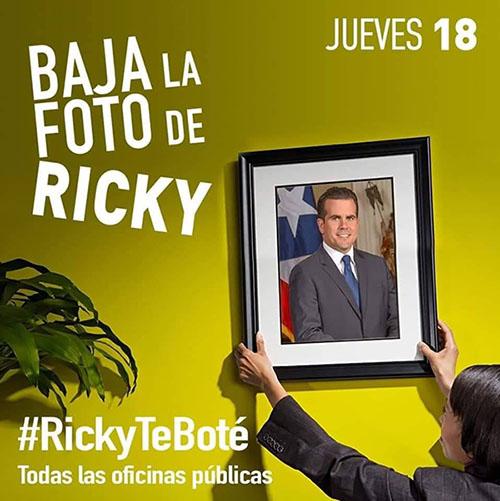 Jueves 18, baja la foto de Ricky, #RickyTeBoté Todas las oficinas públicas