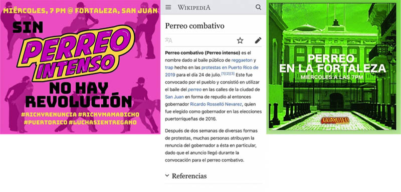 Images inviting participants to the Perreo Intenso/Combativo, and a Wikipedia article on the subject.