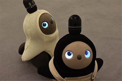 Two cute, brown robots with blue eyes. One is looking directly at the viewer, the other is looking sideways into the distance.