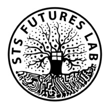 Logo for STS Futures Lab. It is a circle with the name along the top and a tree shape with technology textures.