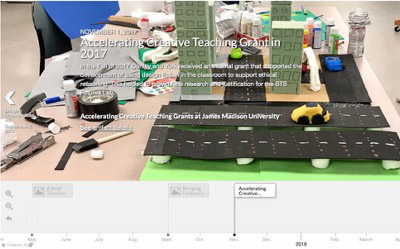"""Screenshot of a timeline with a section highlighted titled """"Accelerating Creative Teaching Grant in 2017"""""""
