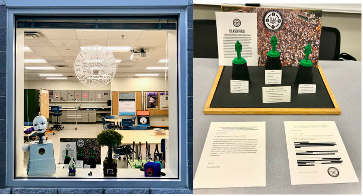 Two photographs. The left is of a window with the logo etched into it a lab can be seen through it. The right is of a display with a document in front of it.
