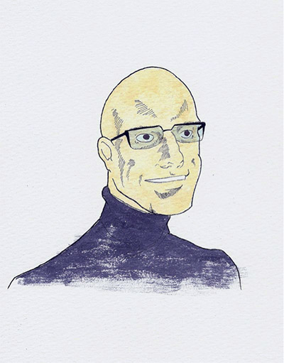 Cartoon drawing of Michel Foucault