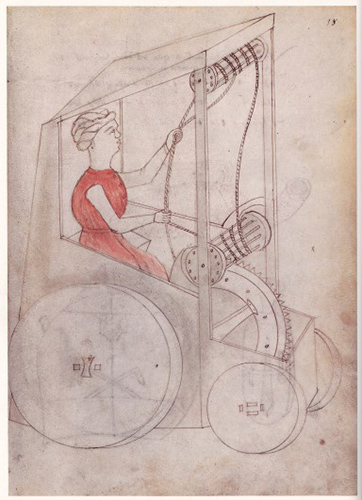 Sketch of a proto car from Renaissance Italy
