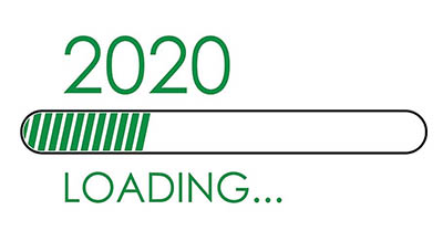 A loading bar filled partially with green lines. It says 2020 Loading...
