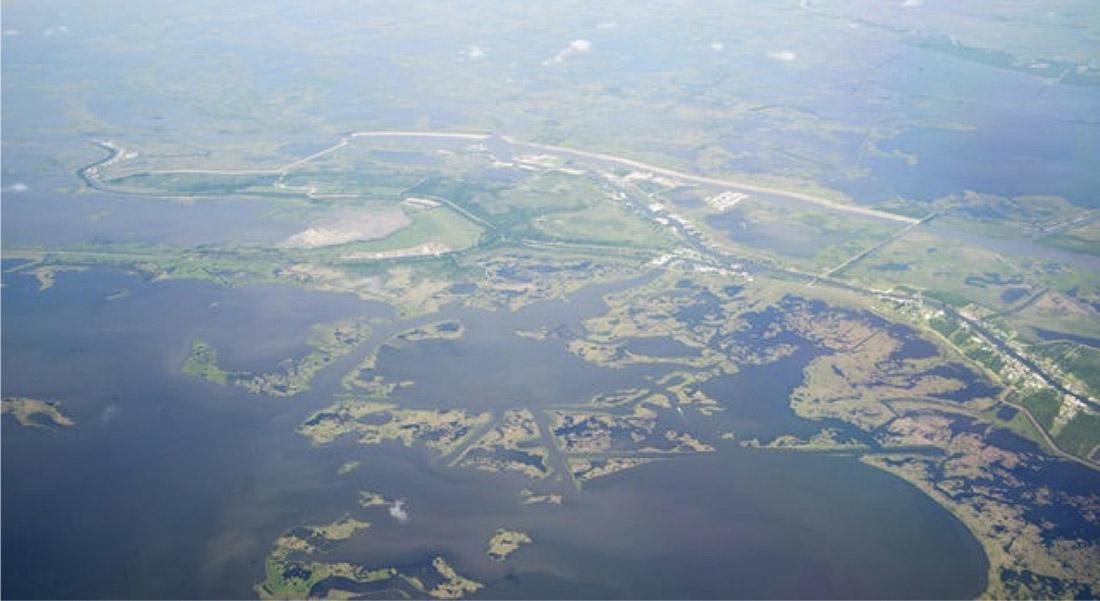 Aerial photograph of eroding southern  Louisiana wetlands, Plaquemines Parish