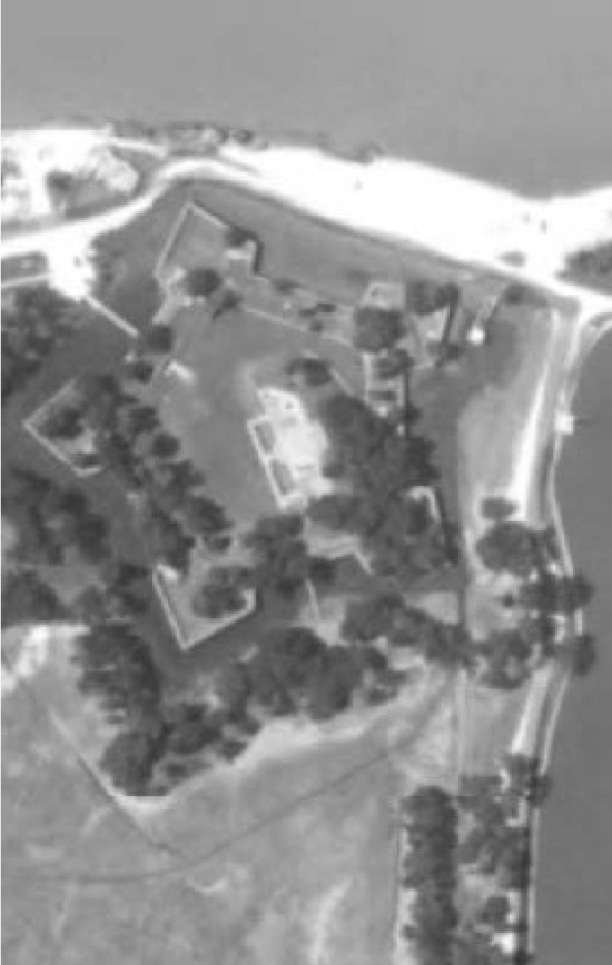 Army Corps of Engineers Black and white archival aerial photograph of Fort Jackson, circa 1974 showing the extent of erosion since the last photograph.