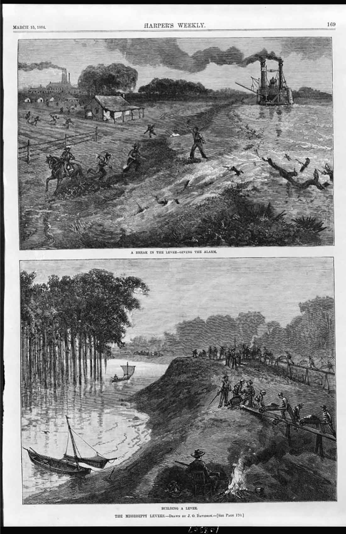 Black and white illustration (top) possibly of the the 1882 Mississippi River flood which cost more than 20,000 people their homes, (bottom) Prison laborers, likely African-American, are forced to rebuild a levee along the Mississippi River, an overseer with a shot gun is seen in the foreground from Harper's Weekly, 1884.
