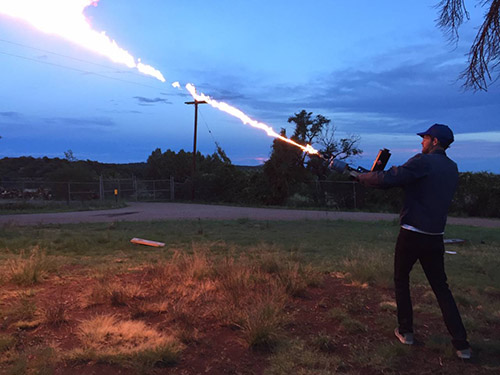 Using a flamethrower with U.S. Forest Service