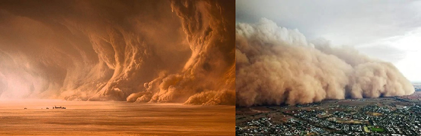 side by side photo of dust storm from the film Mad Max: Fury Road and 2020 fires in Australia
