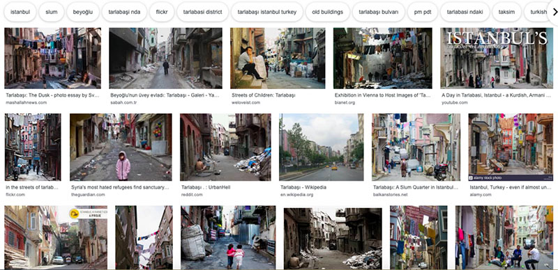 This is a screenshot of a Google Image search of Tarlabaşı. This screenshot has 17 images that feature clean laundry drying outside on clothes lines in between houses, colorful buildings, people sitting on staircases and walking down the street, garbage, among other objects.