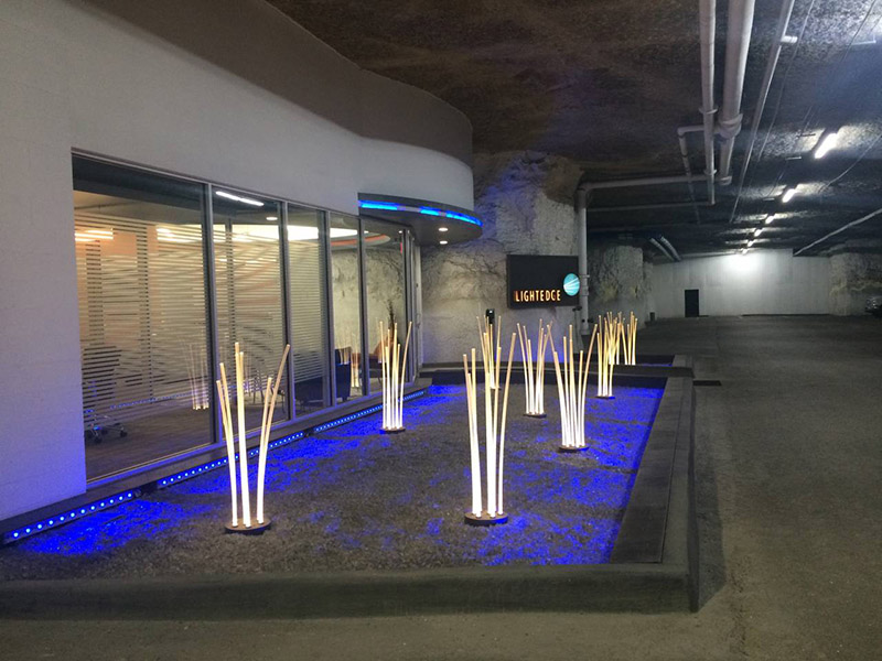 Color photo of fiber optic 'prairie grass' underground at the LightEdge Solutions data center
