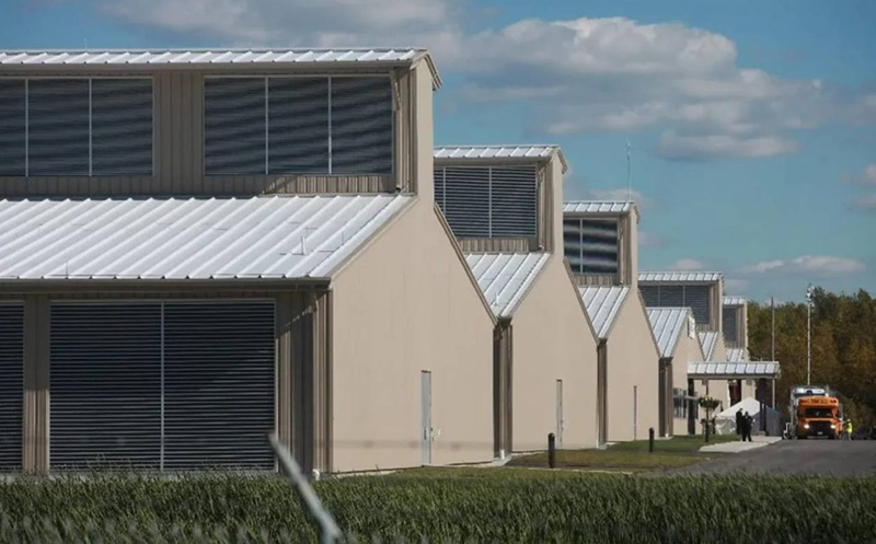 Color photo of an exterior view of Yahoo's chicken coop-inspired data center.