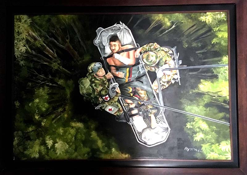 Painting of a person strapped into a gurney to be airlifted from a forest. Two soldiers stand on either side.