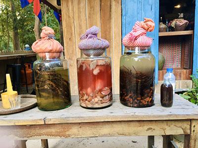 Colorful jars of Khmer Traditional Medicine wine