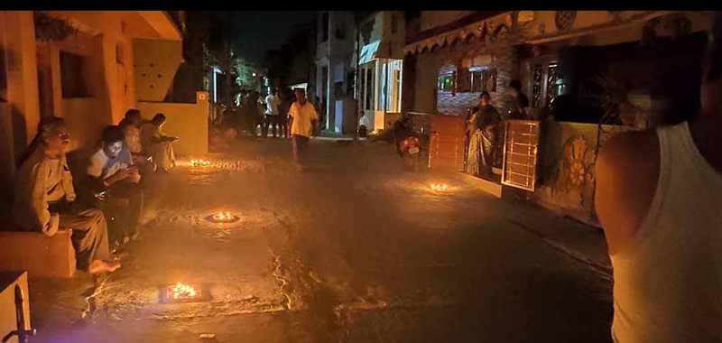 Image: Households light oil lamps on 5th April. Image Source: Whine-Yard:Twitter