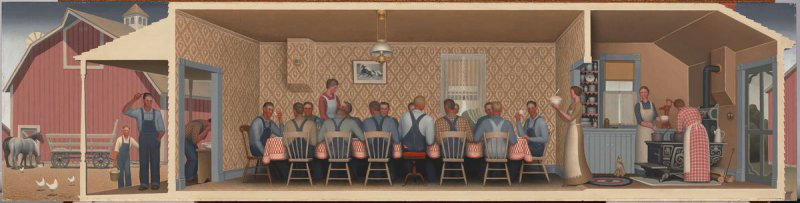 1934 painting by Grant Wood showing an idealized interior where Midwestern agricultural workers are eating dinner.