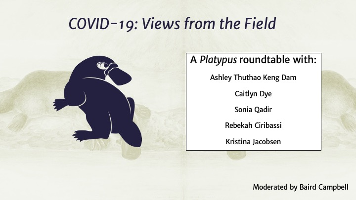 "A beige slide with a dark blue platypus on the left reads ""COVID-19: Views from the Field"" A Platypus roundtable with Ashley ThuthaoKeng Dam, Caitlyn Dye, Sonia Qadir, Rebekah Ciribassi, Kristina Jaconsen"