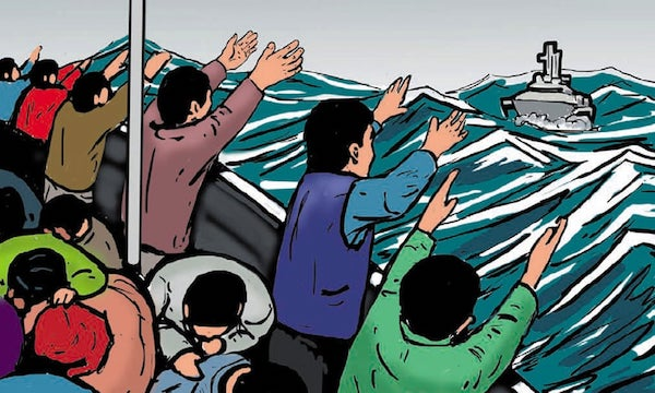 A drawing show a boat full of migrants on a stormy sea