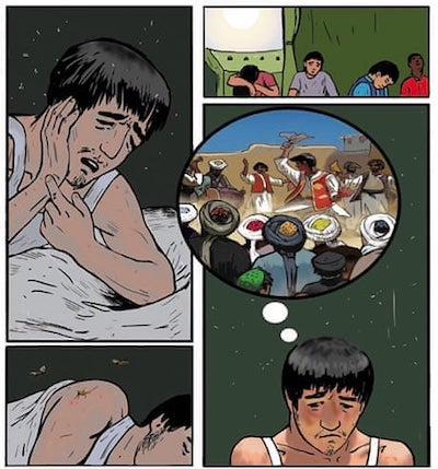 A drawing shows a male migrant suffering from toothpain, insects, and living in a tent at a refugee camp while dreaming of life back home.