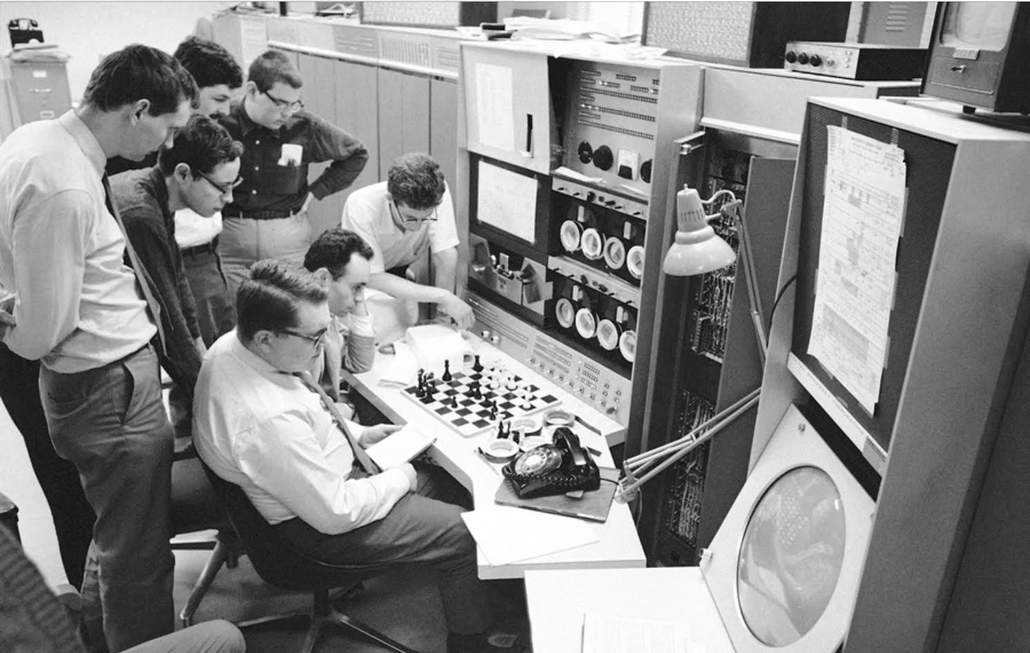 MIT students gather around the PDP-6 in 1967