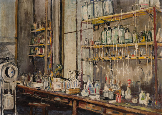 An impressionistic painting of a laboratory bench top crowded with glass vials and beakers of various sorts and sizes. Above are full shelves with more bottles.