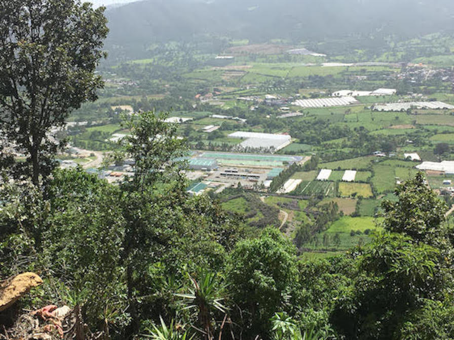 A picture of the the surface installation of the Escobal Mine in San Rafael Las Flores. Photo taken from above overlooking a green valley divided by plots.