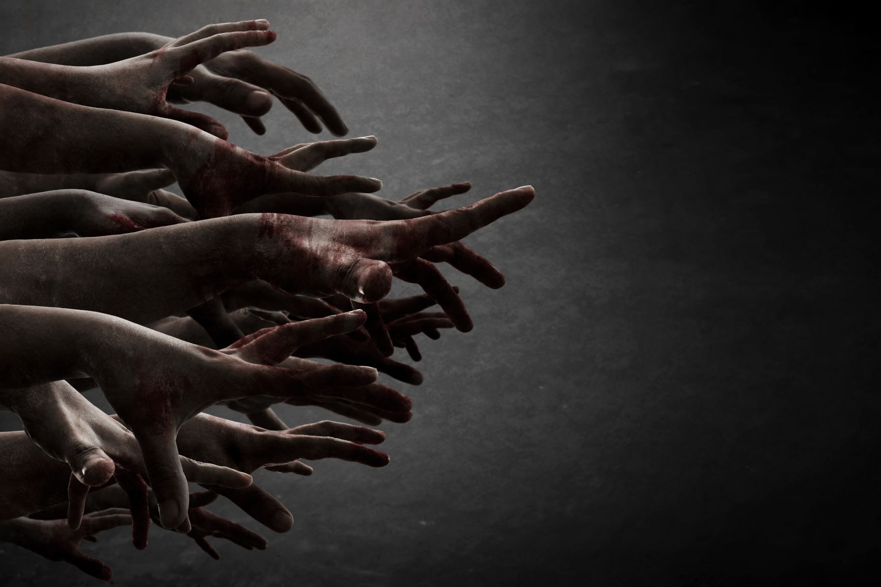 Bloody zombies arms reaching out