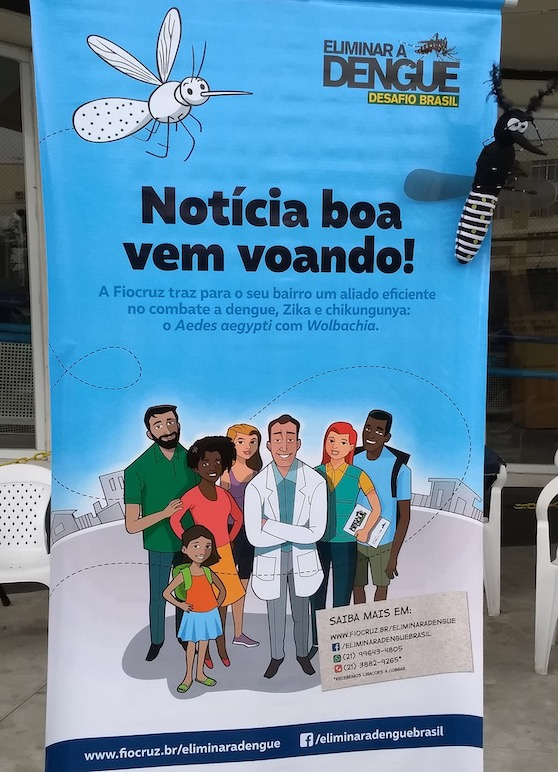 """Banner from the WMP project. On the upper right side, it is written """"Eliminar a Dengue – Desafio Brasil"""" (Eliminate Dengue – Brazil's Challenge), which is the name WMP used in its early days. On the upper left side, there is a white mosquito with green dots. In the middle, in bold, it is written """"Notícia boa vem voando"""" (Good news arrive flying); then, beneath, in smaller font, """"A Fiocruz traz para o seu bairro um aliado eficiente no combate a dengue a dengue, Zika e chikungunya: o Aedes aegypti com Wolbachia"""" (Fiocruz brings to your neighborhood an efficient ally in combating dengue, dengue, Zika and chikungunya: the Aedes aegypti with Wolbachia). Underneath this text there is a drawing of five adults and one child—in the middle is a white man wearing a white coat. On the bottom right, there is a list of places for more information about the technique."""
