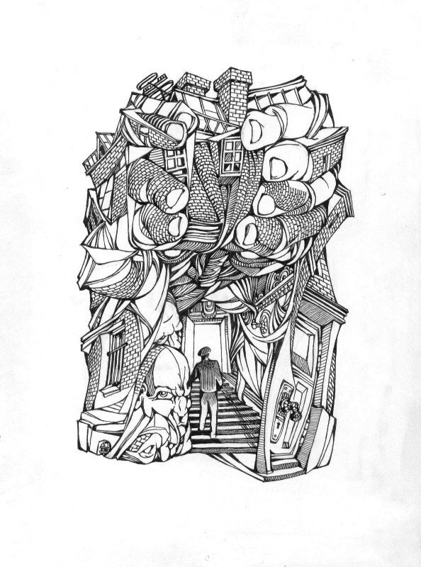 A surrealist drawing of a person walking up the stairs to enter a door into a building. This building is made of an entanglement of fingers holding the building, with windows, brick walls, the roof, chimneys, and a human face.