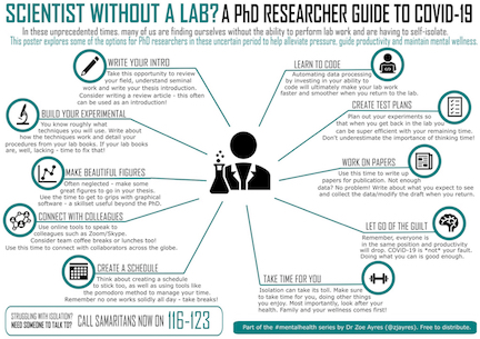 "A graphic titled ""Scientist without a lab? A PhD researcher guide to Covid-19"" shows many possibilities for productive work extending out from a simple icon representing a scientist. The possibilities include making figures, learning to code, and writing papers."