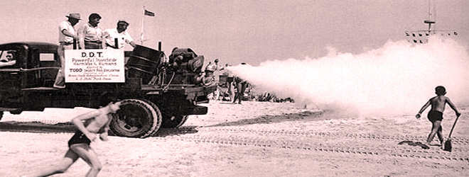 A war tank spraying DDT