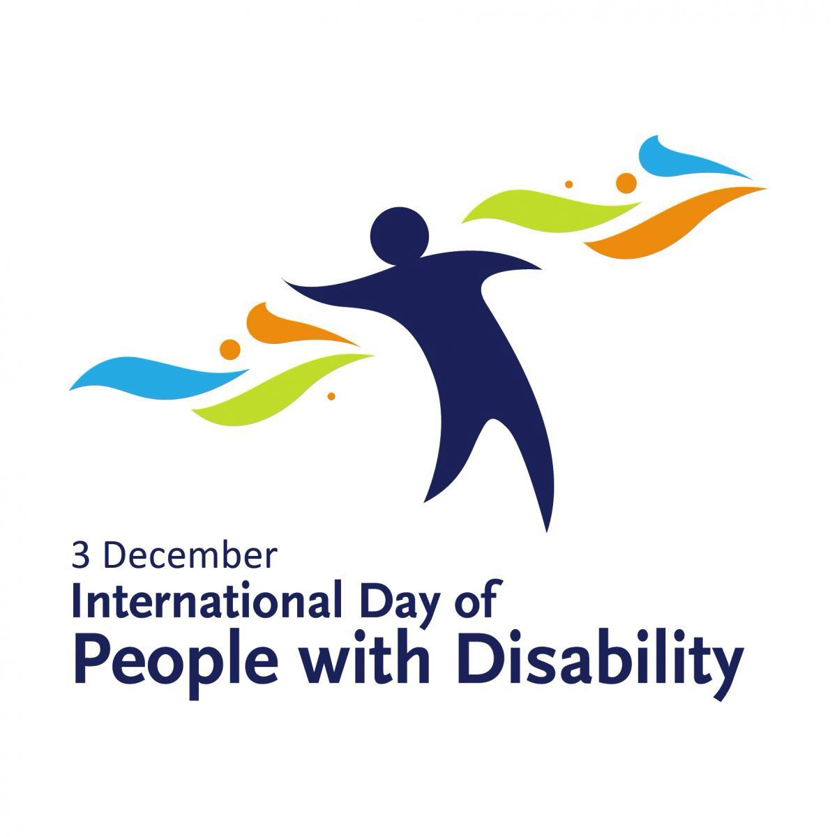 """A colorful logo with the words """"3 December International Day of People with Disability"""""""
