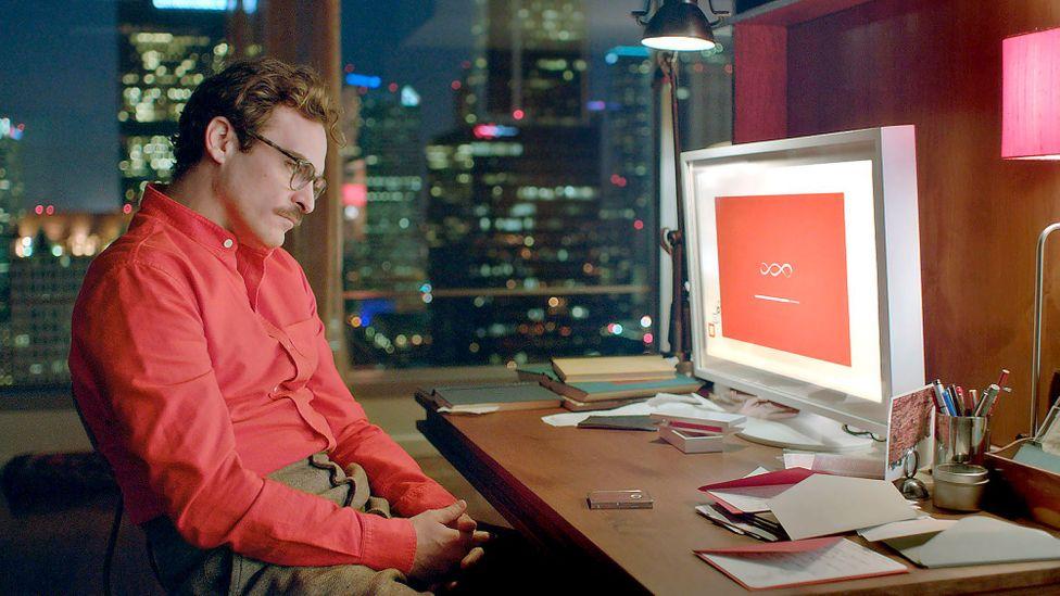 Scene of online dater from Spike Jonez' 2015 film Her