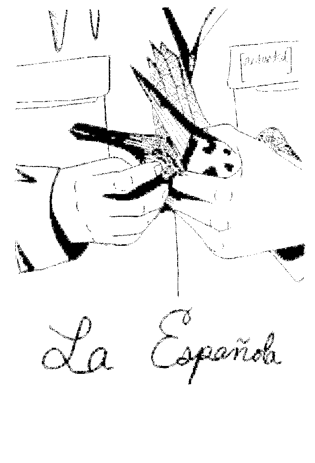 """Black and white drawing and text. Two hands hold a pigeon against a pocket and a nametag that reads [redacted]. In large script across the bottom reads, """"La Española."""""""