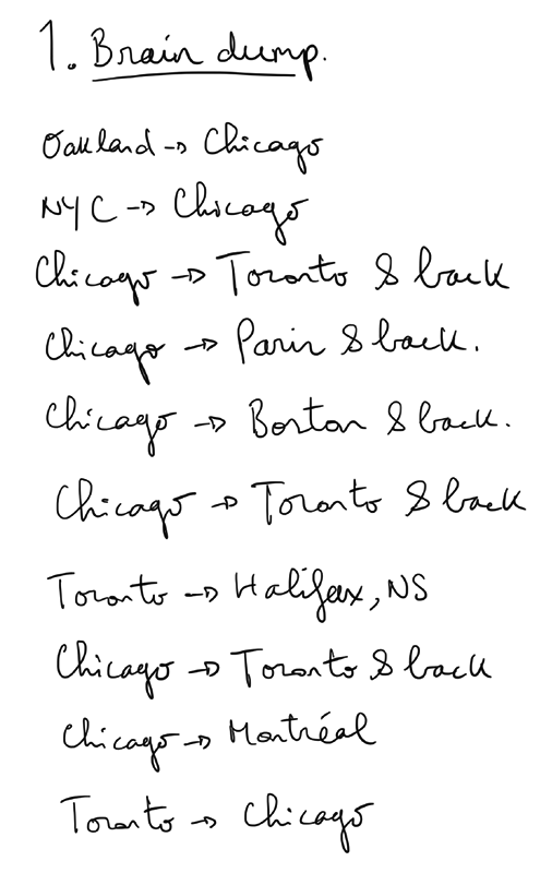 A handwritten list of flights that are detailed in the tables below.