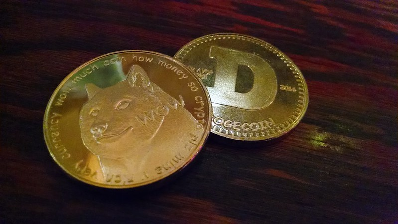 One dogecoin in an actual minted coin-shape